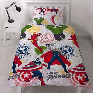 Marvel-Avengers-Mission-Housse-Couette-Simple-Set-Hulk-Iron-Man-Thor-Reversible