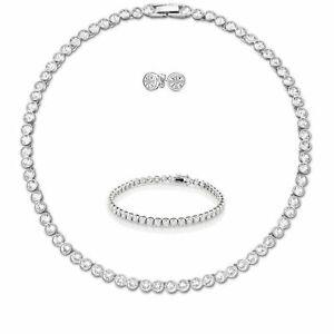 Tennis-Necklace-Earrings-Rhodium-Bridal-Bracelet-set-Swarovski-Inspired-3pc-UK