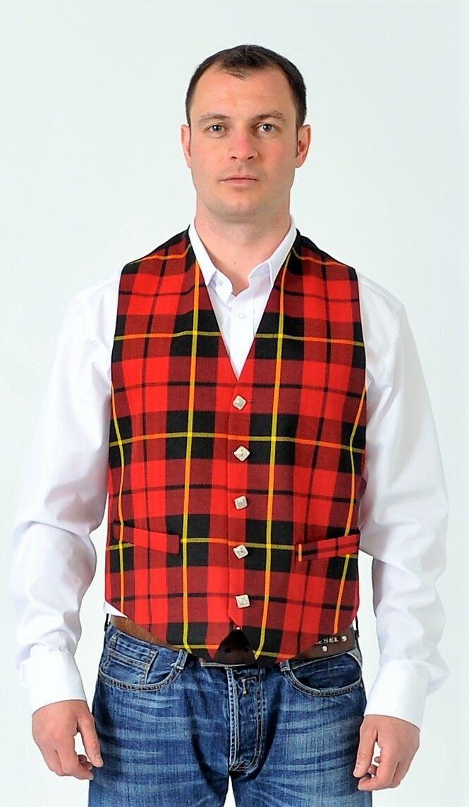 Wallace Tartan Waistcoat Vest 100% Wool Regular Fit reduced to CLEAR