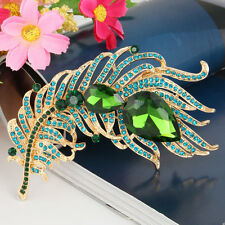 Fashion 9.2cm Peacock Plume Pin Brooch Austrian Crystal Peafowl Green Gold GP
