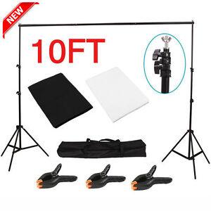 Photography Studio Black+White Backdrop Background Photo Stand Muslin Kit Set US