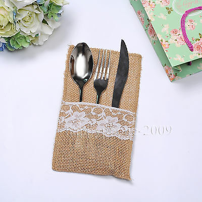 6-50p* Natural Hessian Burlap Lace Cutlery Holder Pouch Rustic Wedding Tableware