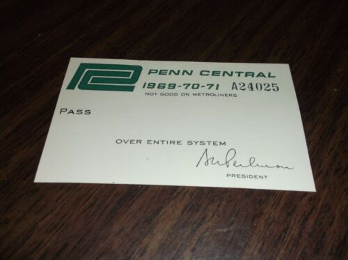 196919701971 PENN CENTRAL EMPLOYEE PASS VERSION #2 MINT CONDITION