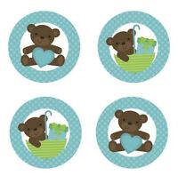 Teddy Bear Baby Boy {blue} Edible Cupcake Toppers Decoration