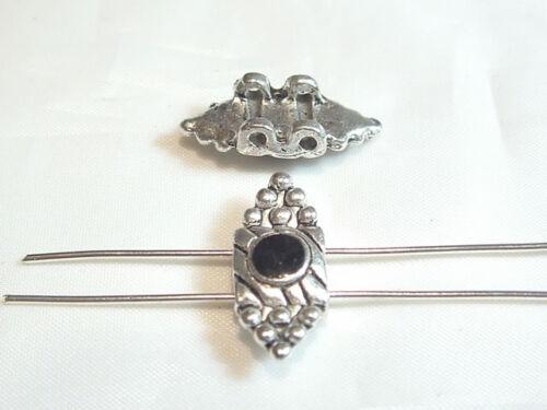 10 Chinese Silvertone Metal Connector Beads:2-wayAB359B