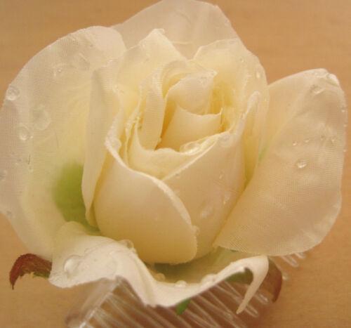 "3/""  Cream White Dewdrop Rose Silk Flower Hair Comb Wedding.Prom,Dance Bridal"