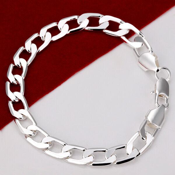 """925Sterling Silver Flat Sideways Women Men Chain Bracelet 8MM 8"""" ZH246"""