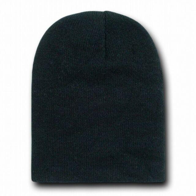 BLACK SHORT BEANIE CAP SKI SKULL CAPS HAT HATS TOQUE