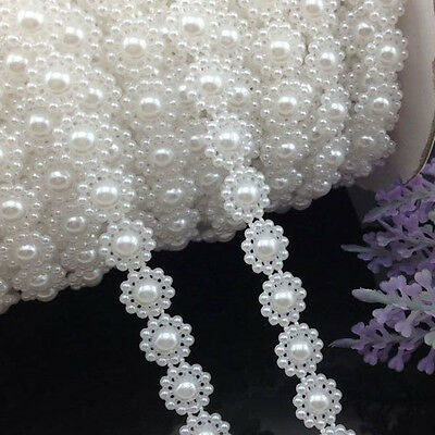 1/5/10 Yards White Sunflower Simulated-pearl Plastic Chain beads DIY Accessory
