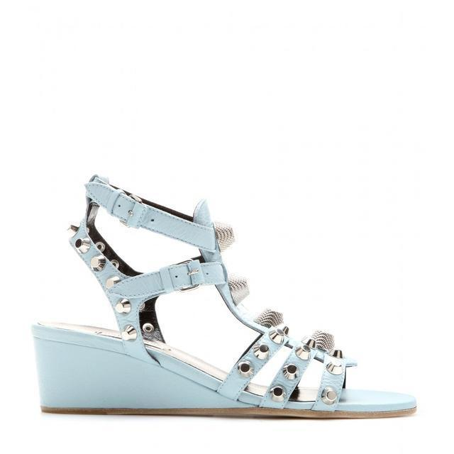 940 940 940 Balenciaga sandals spikes studded leather bluee wedges shoes w RECEIPT 38 8 74fa66