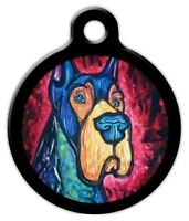 Colorful Great Dane - Custom Personalized Pet Id Tag For Dog And Cat Collars