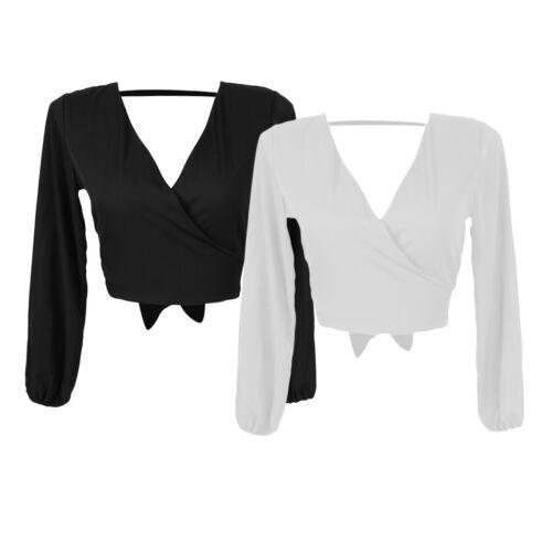 Women/'s Self Tie Back Long Sleeve V Neck Chiffon Crop Top Camisole Blouse