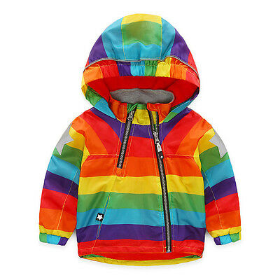 Boy Girl Bomber Jacket Raincoat Kids Stripe Hooded Waterproof Rainbow Outerwear