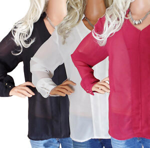 CLEARANCE-Ladies-UK-Plus-Size-10-24-Georgette-Blouse-Tops-Red-Ivory-Black