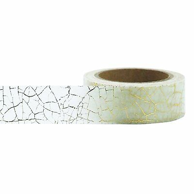 Little B: White Washi Tape w/ Gold Crackle Pattern, 15mm x 10m, for Packages etc