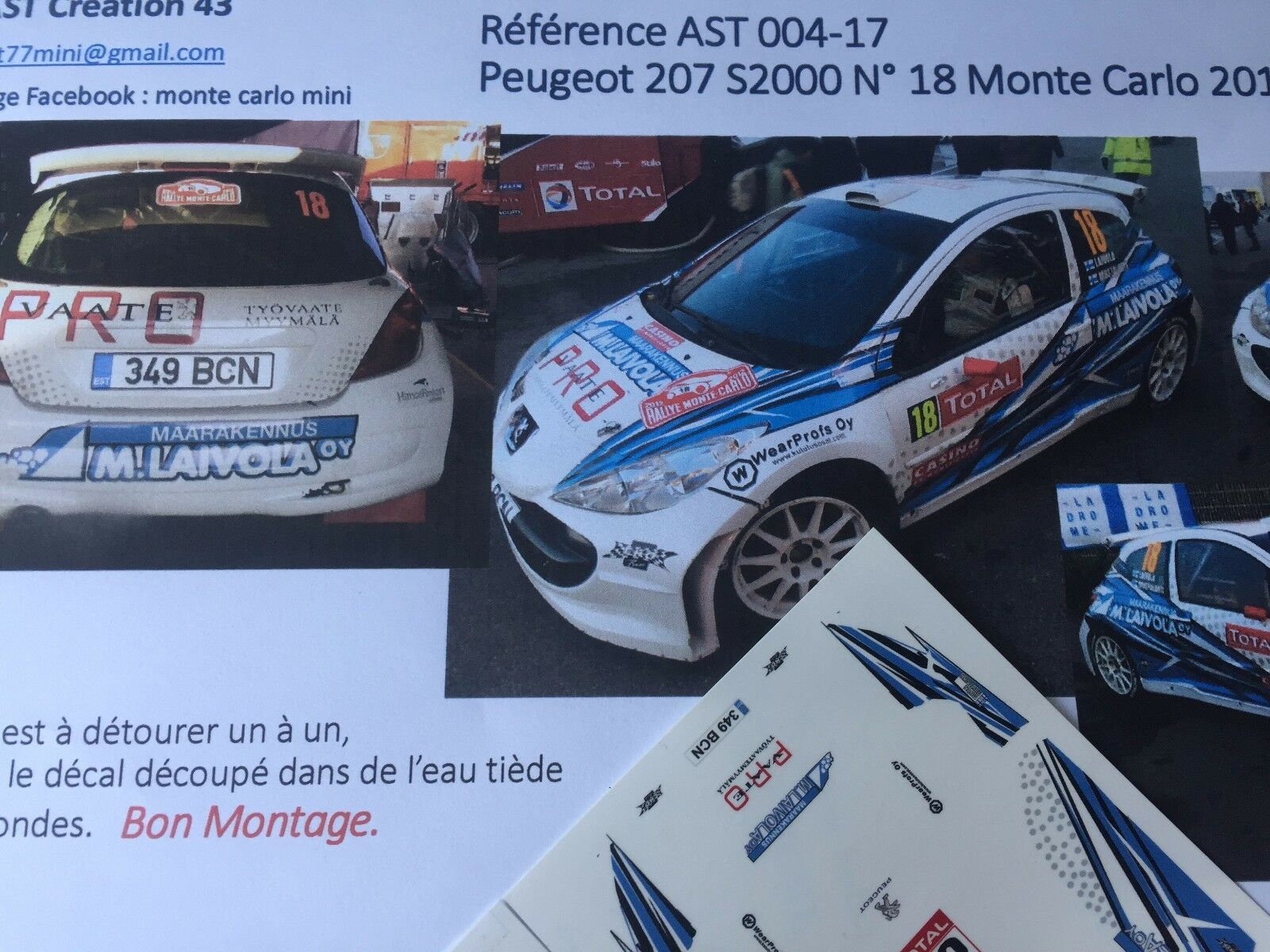 NEW DECAL CALCA 1 43 PEUGEOT 207 S2000 N°18 Rally WRC MONTE CARLO 2012