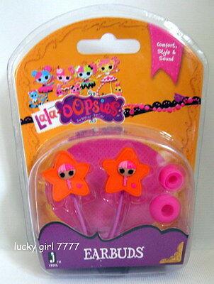 NIP LaLaLOOPSY LaLa OOPSIE EARBUDS Headphones Pink Stars SEW CUTE Low Shipping