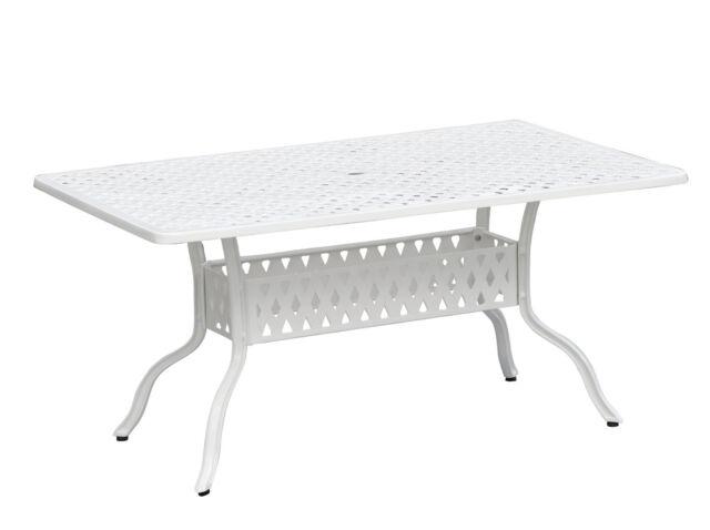 Aluminium Guss Tisch Rocco 120x80cm weiss