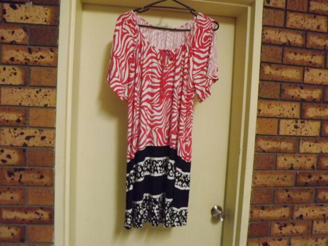 Autograph Animal Print Shift Dress w/- Split Sleeves sz 18