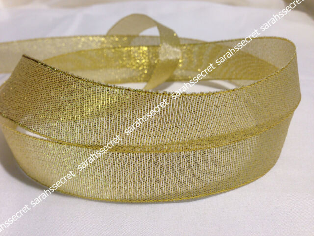 "1 Metre Gold 1"" Glitter Organza Ribbon Scrapbook, Hair Bow #R465"