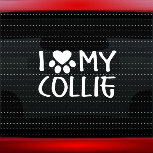20 COLORS! I Love My Collie Heart Paw Dog Car Decal Truck Window Vinyl Sticker