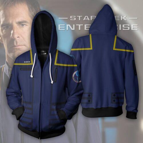 Star Trek Enterprise Men Hoodie Zipper Jacket Coat Cosplay Sweatshirt Costume