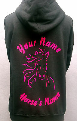 Personalised horse pony outline hoodie hoody printed