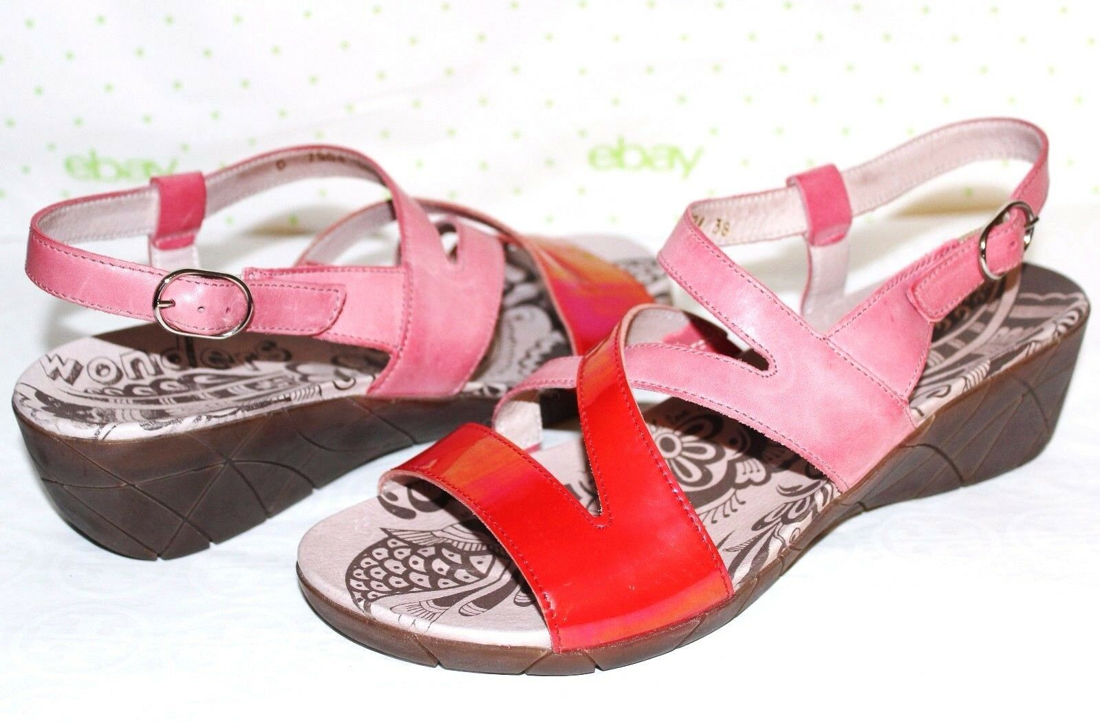 WONDERS Spain Patent Papaya Antiqued-Pink Leather Wedges 10.5 M 41 NEW  L@@K 23