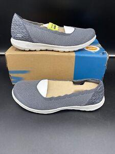 SKECHERS-Women-Size-9-GO-Walk-Lite-Diamond-Charcoal-Gray-Slip-On-Air-Cool-Shoes
