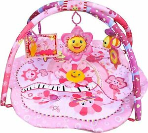 LADIDA Musical Baby Pink Flower Playmat, Play Gym, Musical Activity Play Mat