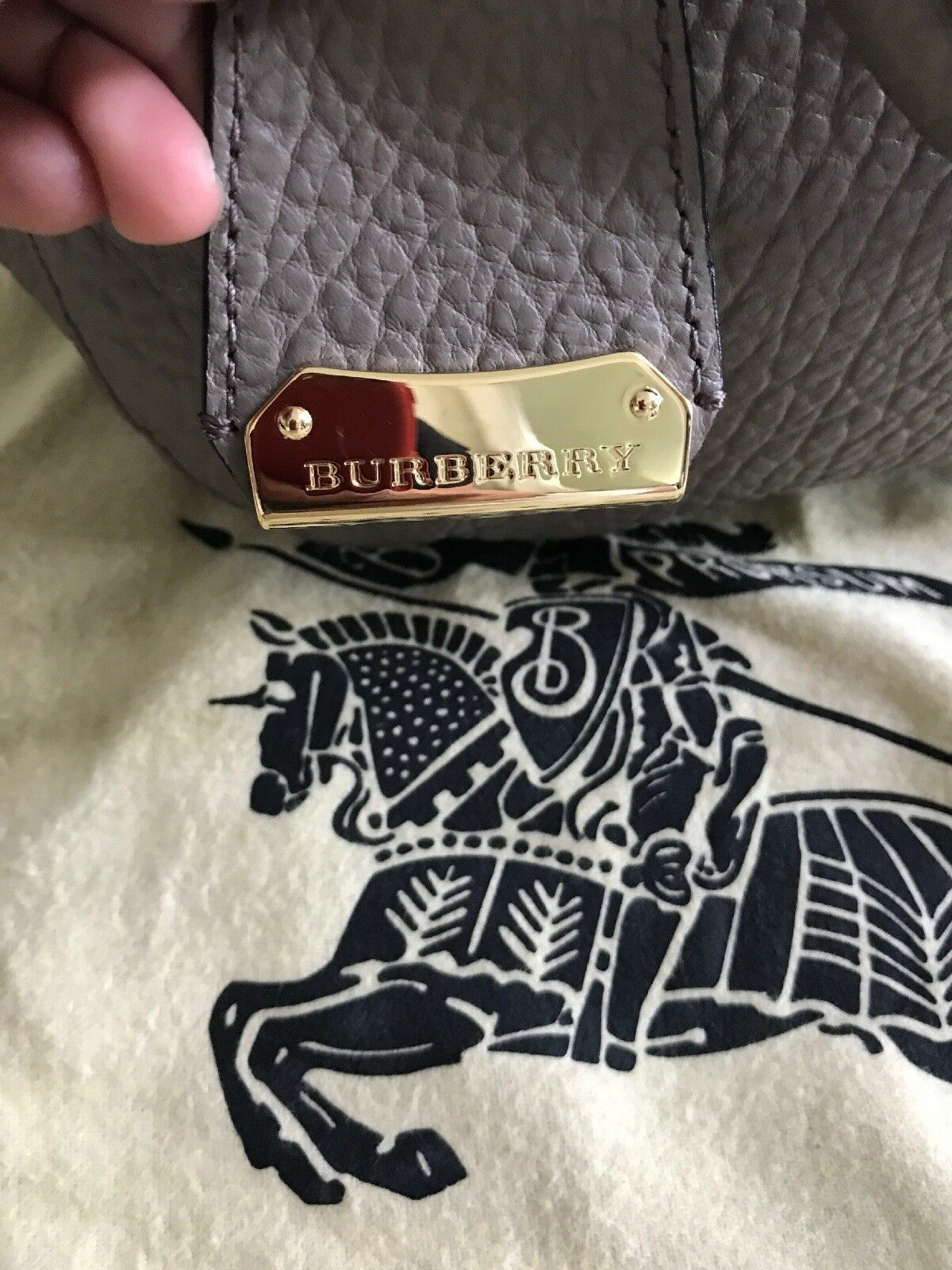 Authentic Burberry Orchard Heritage Grained Medium Grey Leather Satchel Bag  for sale online  d2b25385c4785