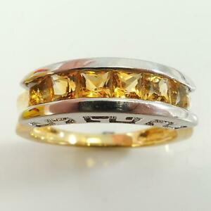 9ct-Yellow-amp-White-Gold-Channel-Set-Princess-Cut-Citrine-Ring