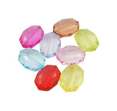20mm Mixed Acrylic Faceted Oval Beads Jewellery Craft Kids Beading H73 10 Pcs