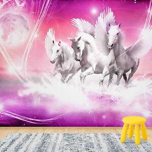 Details zu Fototapete Vlies Pferde Tiere Rose - Mädchen Kinderzimmer  Fototapeten (20280V4)