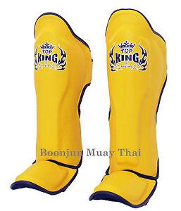 NWT-Top-King-Muay-Thai-Shin-Pads-TKSGP-GL-Shin-Guards-Pro-Genuine-Leather-Yellow