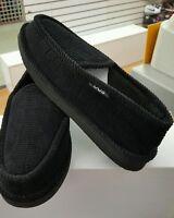 Men's Black House Slippers Comfort Corduroy Moccasin Slip On Sz 7
