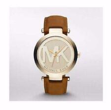 Michael Kors Women's MK Logo Runway Gold Tone Brown Leather 39mm Watch MK2398