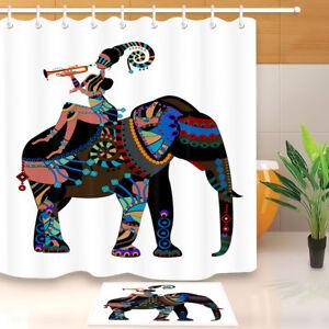 African Elephant Black Girl Fabric Shower Curtain Set Bathroom Accessories Hooks Ebay