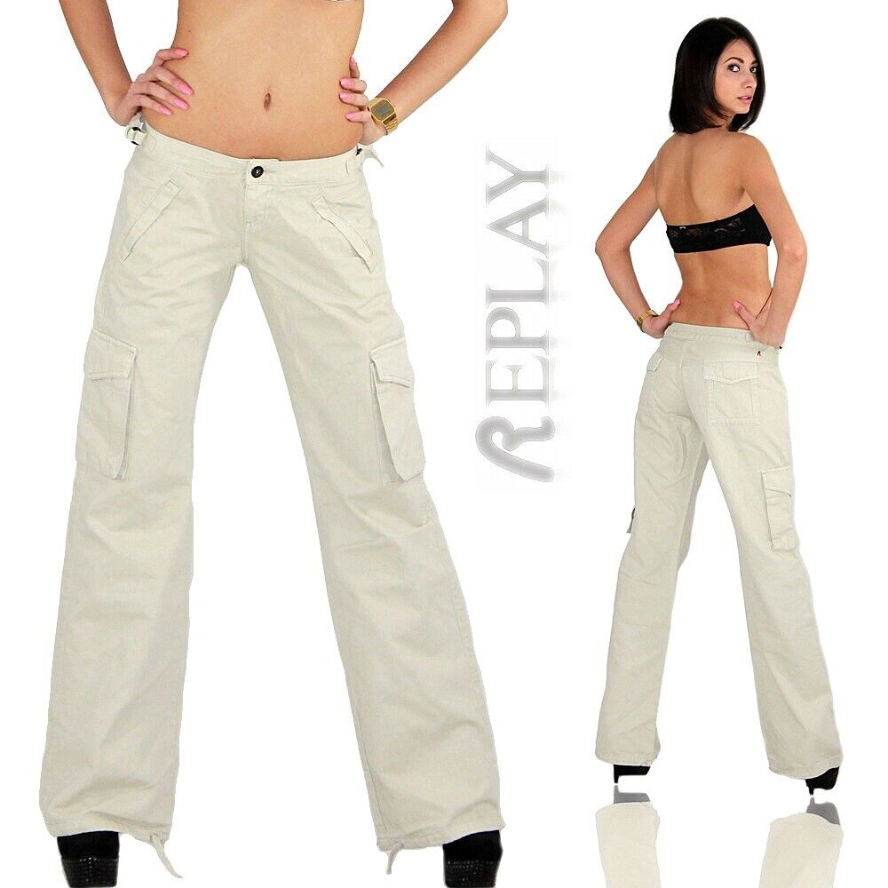 REPLAY Hose authentische Damen Bootcut-Jeans in Used-Waschung Ramean Blau