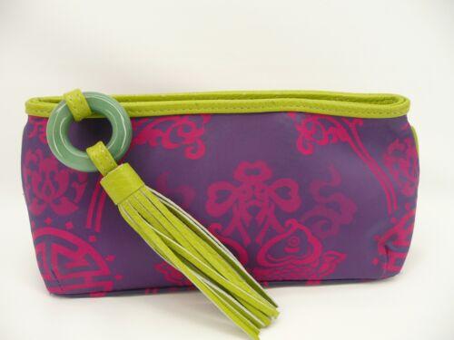 Shanghai Tang Lime Green/Fuschia Fabric/Leather C… - image 1
