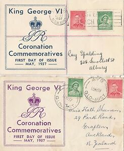 Stamps Australia 1937 Coronation pair on pair of Robertson cachet FDCs addressed