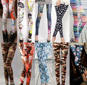 Women-Slim-Skinny-Colorful-Print-Punk-Funky-Stretch-Pencil-Tights-Pants-Trousers