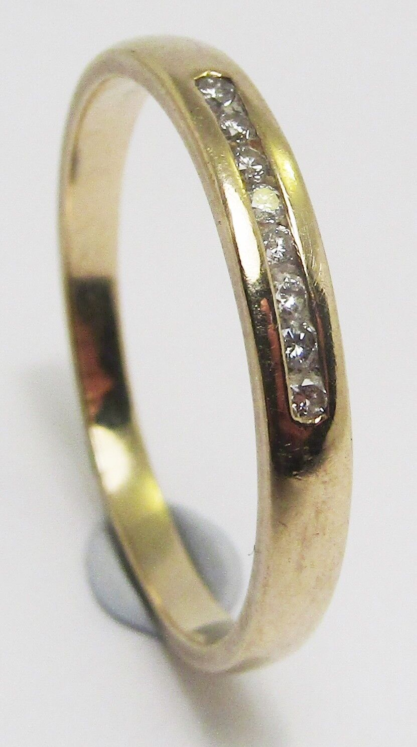 100% Genuine Vintage 9ct  Solid Yellow gold 0.04cts Diamond Eternity Ring Sz 7US