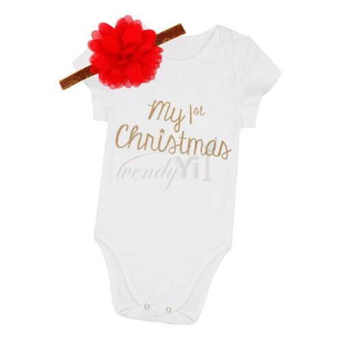 Toddler Infant Baby Girl Clothes 1st Christmas Romper Headband 3Pcs Set Outfit