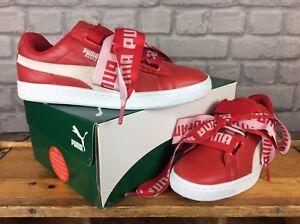 Nuovo con Scatola PUMA DONNA UK 6 Rosso Cesto CUORE DE Leather Scarpe da ginnastica Regalo Di Natale