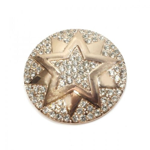 Runde Magnet Brosche mit großem Stern und Strass Schalhalter