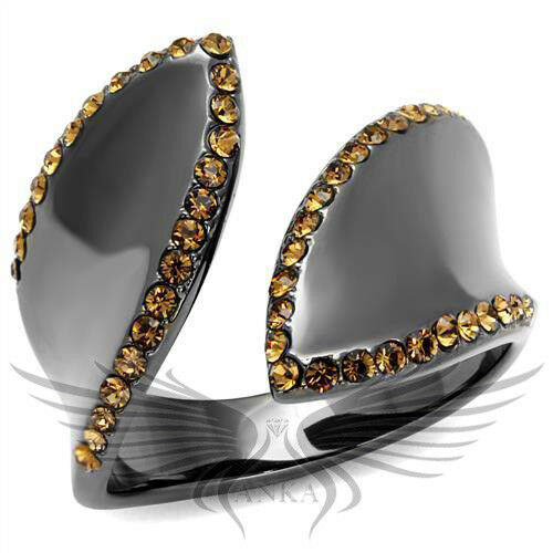 Brilliant Brown Top Grade Crystals Light Black Ion Plated Fashion Ring TK2692