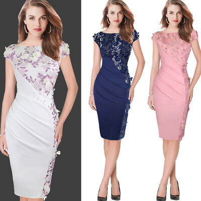 Womens Elegant Embroidery Ruched Slim Party Evening Cocktail Bodycon Dress 4258