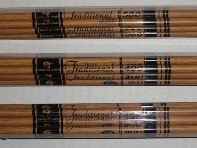 GOLD TIP .03 TRADITIONAL SHAFTS COMPLETE WITH NOCKS AND INSERTS CUT FREE