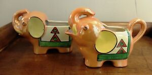 Vintage Japan Luster Hand Painted Art Deco Elephant Creamer Sugar Trunk Up Lucky